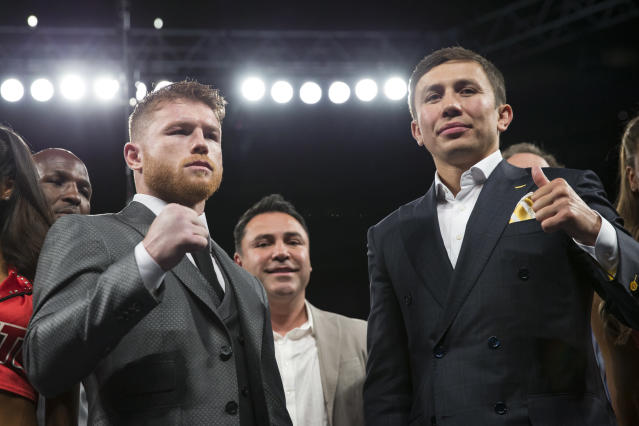 Gennady Golovkin, right, has been eyeing a fight with Canelo Alvarez for three years. (AP).