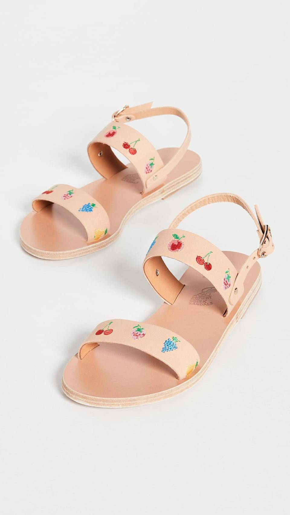 <p><span>Ancient Greek Sandals Ags x HVN Embroidery Clio Sandals</span> ($330)</p>