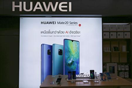 Huawei products are seen in a shop in Bangkok, Thailand, January 30, 2019. Picture taken January 30, 2019. REUTERS/Athit Perawongmetha