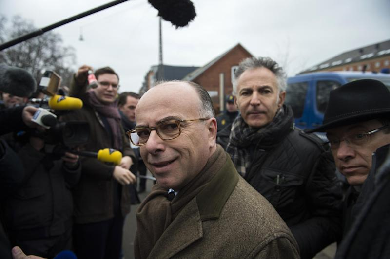 French Interior Minister Bernard Cazeneuve is pictured during a press conference outside the synagogue Krystalgade in Copenhagen, on February 15, 2015 (AFP Photo/Odd Andersen)