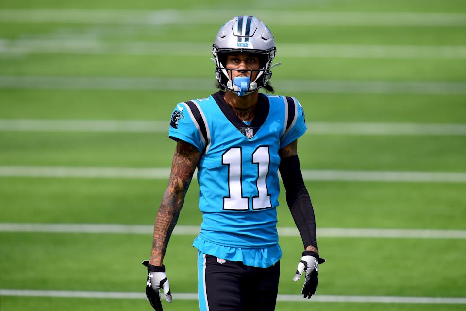 INGLEWOOD, CALIFORNIA - SEPTEMBER 27:  Robby Anderson #11 of the Carolina Panthers during warm up before the game against the Los Angeles Chargers at SoFi Stadium on September 27, 2020 in Inglewood, California. (Photo by Harry How/Getty Images)