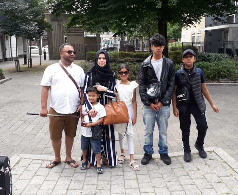 The family of six had been setting off on a week-long already paid for package holiday to Antalya in Turkey when Sultana Begen (second left) was told her passport may not be valid, causing the family to miss the flight