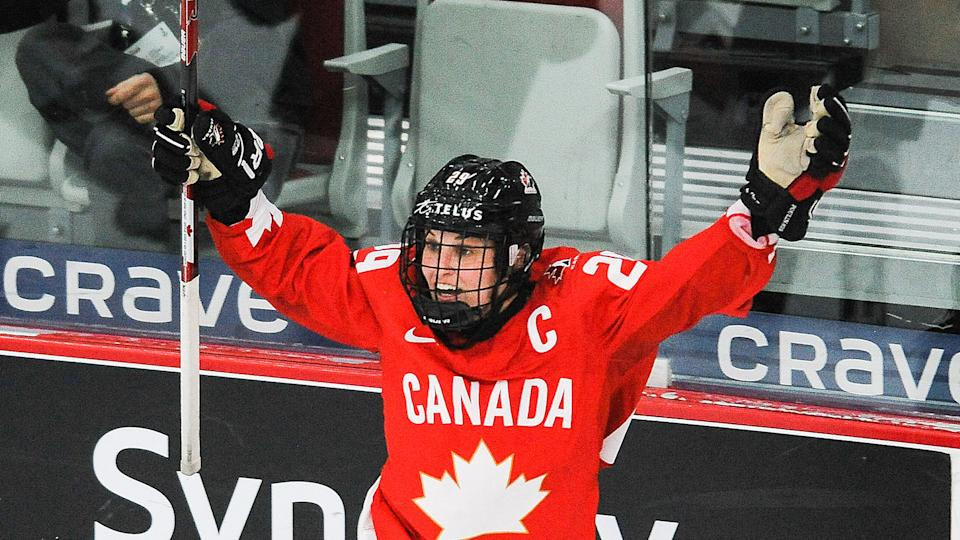 Marie-Philip Poulin of Canada celebrates after scoring the game-winning goal against United States.(Photo by Derek Leung/Getty Images)