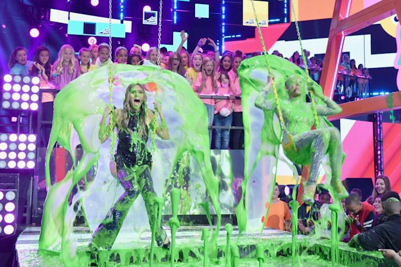 As soon as the slime explosion happened, the supermodel lost all composure, as anyone would, and screamed at the top of her lungs. Source: Getty
