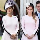 <p>Sophie Countess of Wessex attends Royal Ascot Day 1 at Ascot Racecourse on June 19, 2018</p><p>Princess Beatrice Windsor during Trooping The Colour, the Queen's annual birthday parade, on June 8, 2019</p>