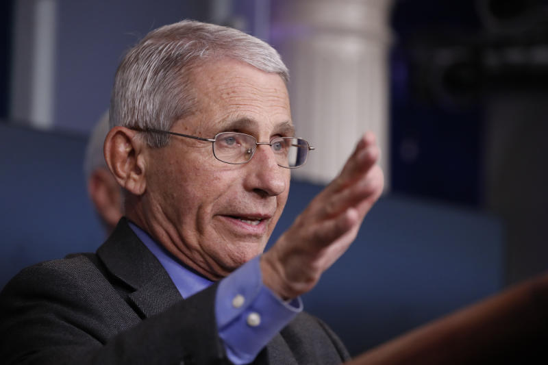 Dr. Anthony Fauci, director of the National Institute of Allergy and Infectious Diseases, speaks about the coronavirus in the James Brady Press Briefing Room at the White House, Monday, April 13, 2020, in Washington. (AP Photo/Alex Brandon)