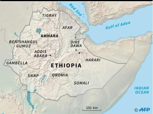 Map locating the state of Amhara in Ethiopia, where the attempted coup took place