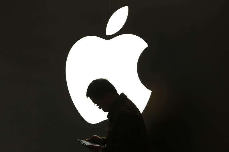A man looks at his Apple iPad in front an Apple logo outside an Apple store in downtown Shanghai in this file photo