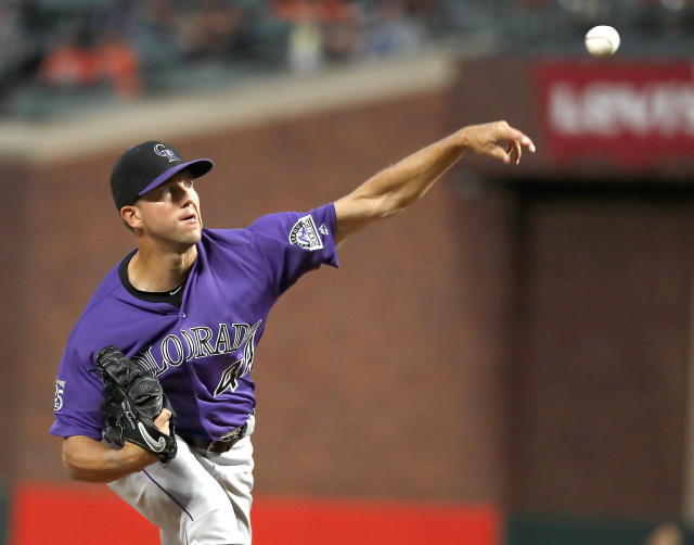Colorado Rockies starting pitcher Tyler Anderson (44) throws against the San Francisco Giants during the first inning of a baseball game in San Francisco, Friday, Sept. 14, 2018. (AP Photo/Tony Avelar)
