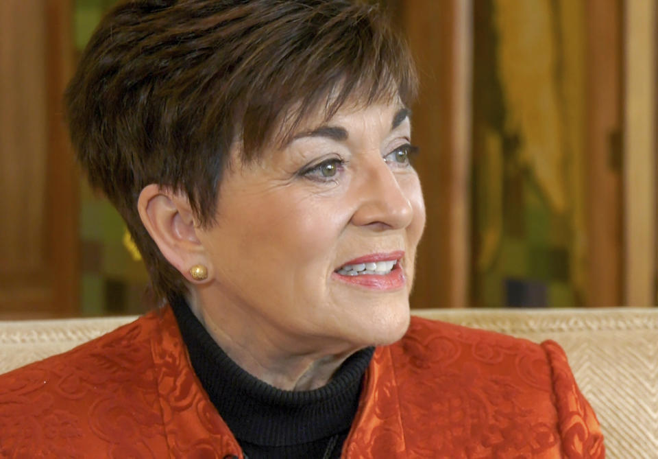 New Zealand's Governor-General Patsy Reddy speaks during an interview with the Associated Press, Wednesday, Aug. 4, 2021, in Wellington, New Zealand. Reddy says Prince Harry and Meghan discussed moving to New Zealand during a 2018 visit, more than a year before announcing they were stepping back from royal duties and moving to North America. (AP Photo Sam James)