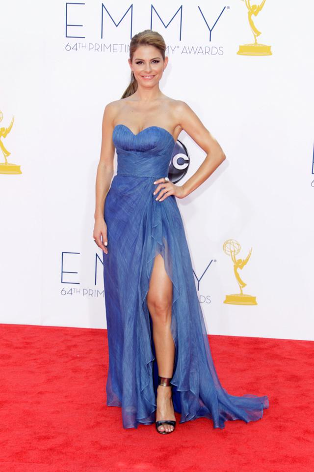 Maria Menounos arrives at the 64th Primetime Emmy Awards at the Nokia Theatre in Los Angeles on September 23, 2012.