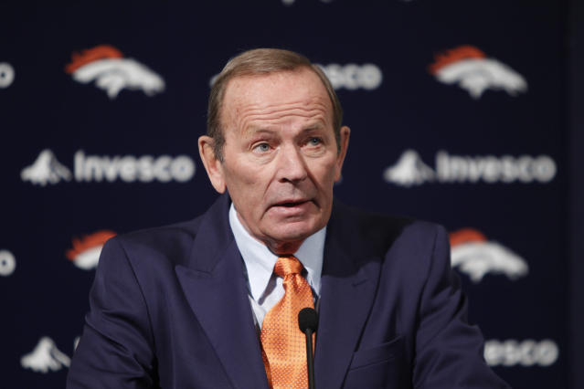 "<a class=""link rapid-noclick-resp"" href=""/nfl/teams/den"" data-ylk=""slk:Broncos"">Broncos</a> owner Pat Bowlen, shown in 2011, was named a contributor finalist by the Pro Football Hall of Fame. (AP)"