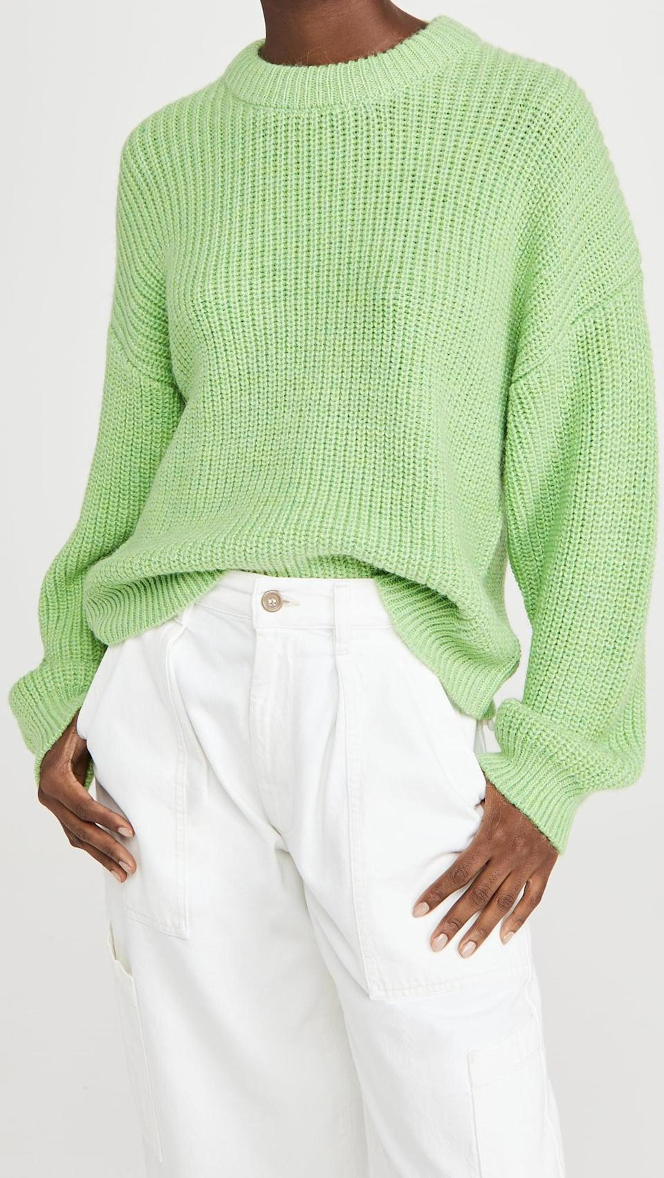 <p>Opt for a vibrant shade with this <span>Scotch & Soda/Maison Scotch Soft Crew Neck Rib Knit Sweater</span> ($225).</p>
