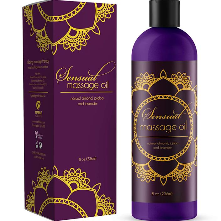"""<strong><h3><a href=""""https://amzn.to/2RP1saR"""" rel=""""nofollow noopener"""" target=""""_blank"""" data-ylk=""""slk:Sensual Massage Oil"""" class=""""link rapid-noclick-resp"""">Sensual Massage Oil</a></h3></strong> <br>Use this best-selling Amazon's Choice massage oil made from a luxe blend of Bulgarian lavender oil, Jojoba, and almond extract for sensual or practical occasions — the glowing reviews range from, """"This is my all-time favorite sensual massage oil! I love the way it feels - smooth, just the right amount of slippery, soaks in slow and makes my skin feel great,"""" to, """"Used this with my girlfriend and we both love it! It was calming, relaxing, and smelled great.""""<br><br><strong>Maple Holistics</strong> Sensual Massage Oil, $, available at <a href=""""https://amzn.to/2RP1saR"""" rel=""""nofollow noopener"""" target=""""_blank"""" data-ylk=""""slk:Amazon"""" class=""""link rapid-noclick-resp"""">Amazon</a><br>"""