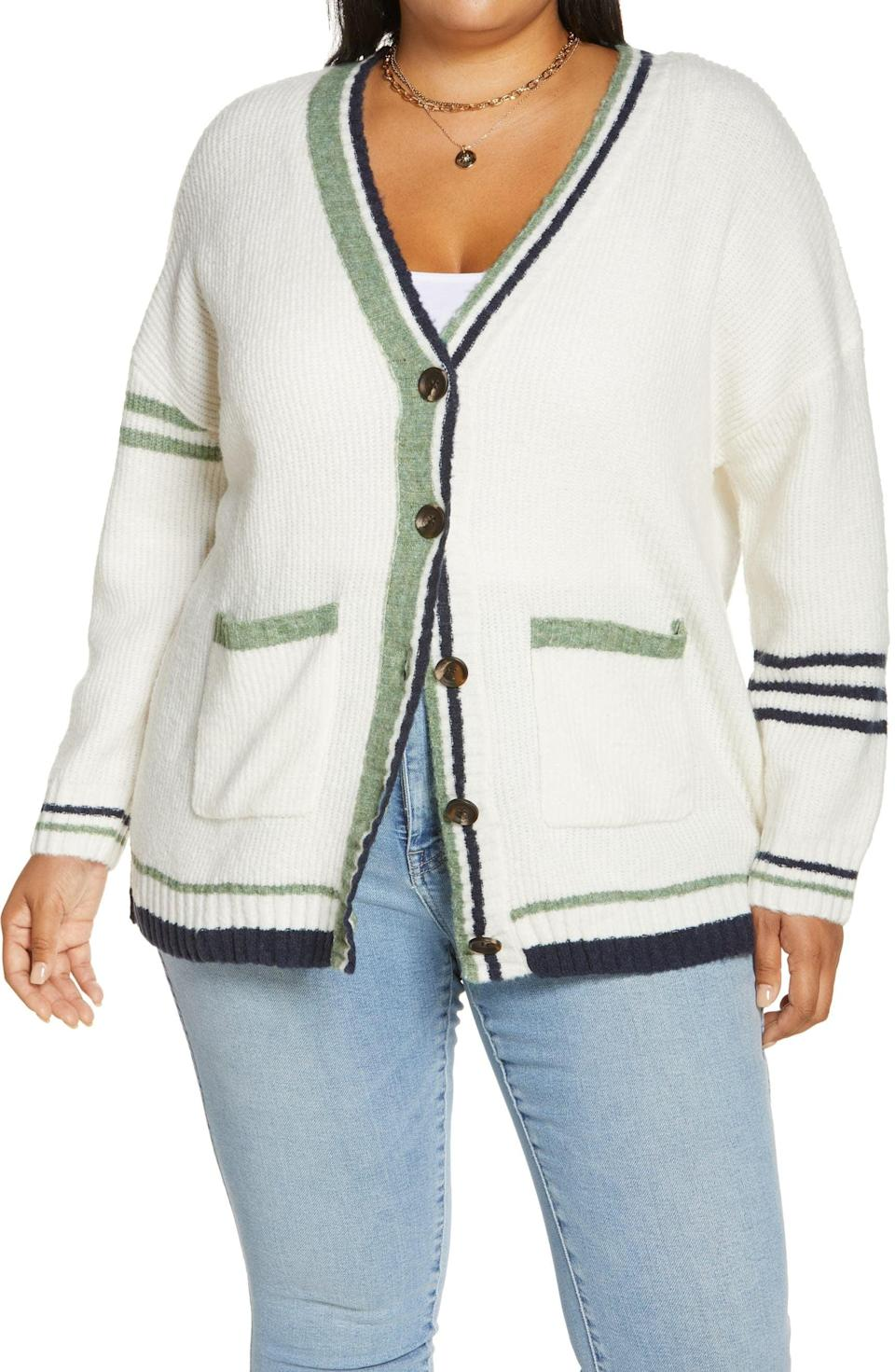 <p>This <span>BP. Tipped Varsity Cardigan</span> ($55) has a retro look to it, reminiscent of school days. The fabric has a stretchy and cozy feel, making sure you never want to take it off.</p>