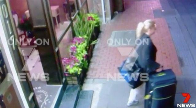 New pictures: Exclusive images obtained by 7 News show Ms Sainsbury leaving her hotel, just a short time before her arrest in Bogota. Photo: 7 News