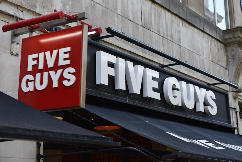 LONDON, ENGLAND- MAY 13: A general view of the signage of a Five Guys restaurant in Argyll Street. Source: Getty