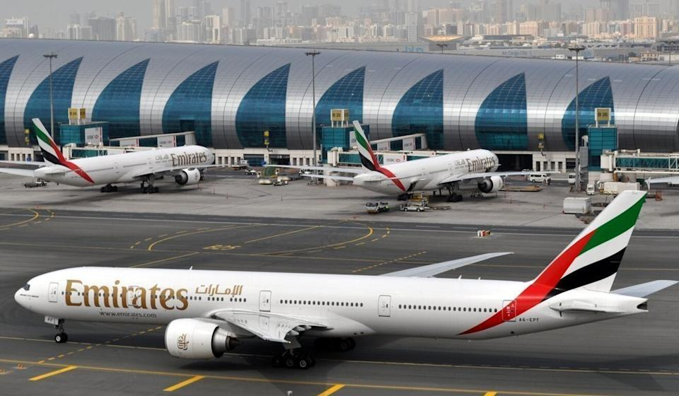 Emirates has suspended transit services via Hong Kong airport from July 2 to 15. Photo: AP