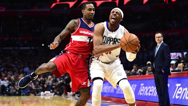 "<a class=""link rapid-noclick-resp"" href=""/nba/players/3253/"" data-ylk=""slk:Paul Pierce"">Paul Pierce</a> and <a class=""link rapid-noclick-resp"" href=""/nba/players/4615/"" data-ylk=""slk:Brandon Jennings"">Brandon Jennings</a> have a history of ribbing each other. (Getty Images)"