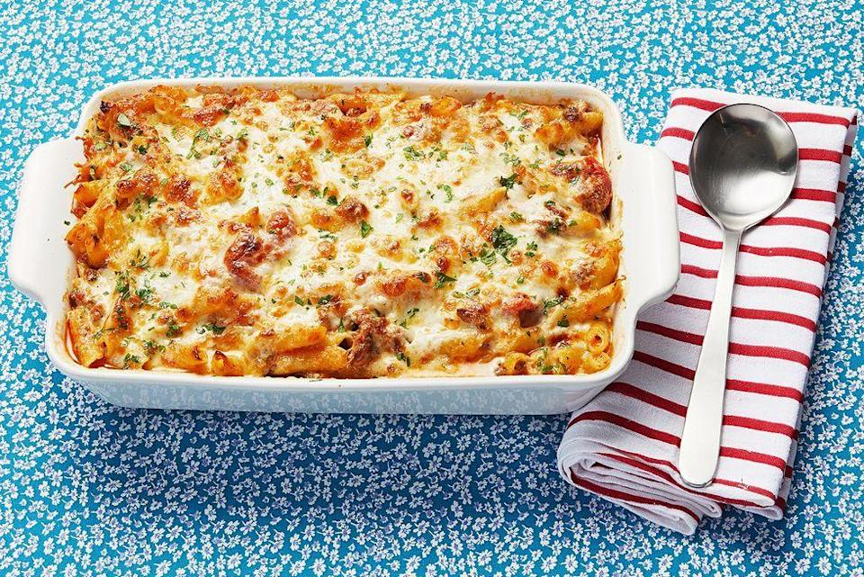 """<p>Saucy, rich, and packed with two types of protein (Italian sausage and ground beef), this baked ziti is the ultimate comfort food. It feeds a crowd, so gather your friends and family for a fun pasta party. </p><p><a href=""""https://www.thepioneerwoman.com/food-cooking/recipes/a11688/baked-ziti/"""" rel=""""nofollow noopener"""" target=""""_blank"""" data-ylk=""""slk:Get Ree's recipe."""" class=""""link rapid-noclick-resp""""><strong>Get Ree's recipe. </strong></a></p><p><a class=""""link rapid-noclick-resp"""" href=""""https://go.redirectingat.com?id=74968X1596630&url=https%3A%2F%2Fwww.walmart.com%2Fsearch%2F%3Fquery%3Dmeasuring%2Bcup&sref=https%3A%2F%2Fwww.thepioneerwoman.com%2Ffood-cooking%2Fmeals-menus%2Fg37078352%2Fitalian-sausage-recipes%2F"""" rel=""""nofollow noopener"""" target=""""_blank"""" data-ylk=""""slk:SHOP MEASURING CUPS"""">SHOP MEASURING CUPS</a></p>"""