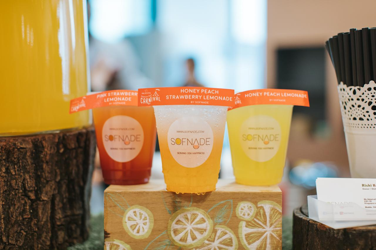 <p>Some of the food and drinks that are available for sale at the carnival – emonades by Sofnade (Photo: Prudential Marina Bay Carnival) </p>