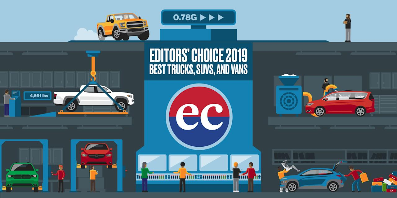 """<p>Over the course of the previous year, the editors here at <em>Car and Driver </em>have had the pleasure—and yes, sometimes, even the pain—of having driven and tested hundreds of vehicles. From this wide array of contenders, we have selected our 2019 Editors' Choice for trucks, crossovers, and SUVs. We consider these to be the best pickup trucks, crossovers, and SUVs for 2019, and we recommend the following vehicles to buyers who are shopping in each of the categories as outlined below.</p><p>How did we determine the winners? First off, the winners of our <a href=""""https://www.caranddriver.com/features/a25603385/10best-trucks-suvs-2019/"""" target=""""_blank"""">10Best Trucks and SUVs</a> for 2019 automatically earn a spot on the list. Then we chose the rest using a wide range of criteria: the results from our Buyer's Guide in-depth testing, how a vehicle performed at our test track, with some old-fashioned subjective desirability thrown in for good measure. If you're shopping for a vehicle in 2019, then allow us—automotive experts with strong car knowledge—to give you some suggestions.</p><p>Looking for a sedan, a hatchback, a coupe, or a convertible? How about a hybrid or an electric vehicle? You'll find the ones that <a href=""""https://www.caranddriver.com/shopping-advice/a26062860/best-cars-2019/"""" target=""""_blank"""">we think are best here</a>. </p>"""