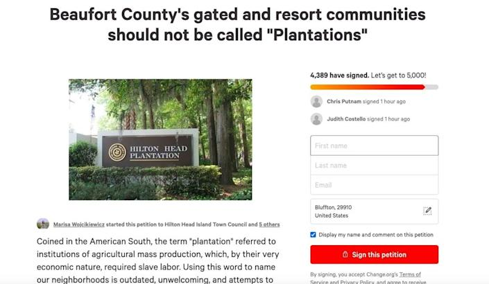 """A Change.org petition started June 7, 2020 urges Beaufort County leaders to demand the word """"plantation"""" be taken off gated community signs and marketing materials. The petition offers few details, but had over 4,300 signatures on Friday morning."""