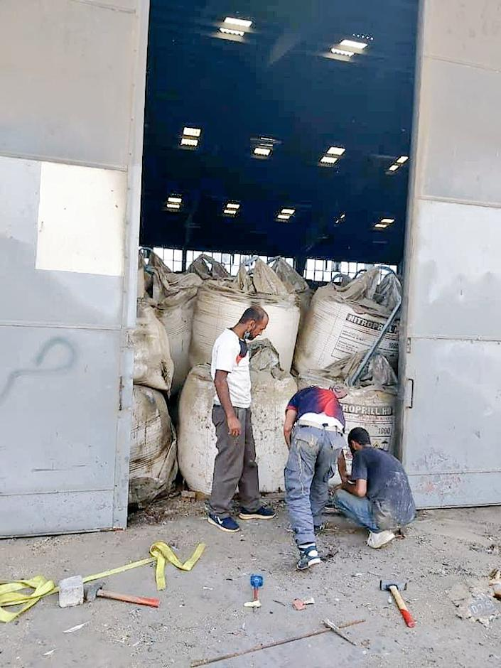 An undated photo appears to show bags of ammonium nitrate stored inside a warehouse reportedly at the Port of Beirut. (acquired by NBC News)