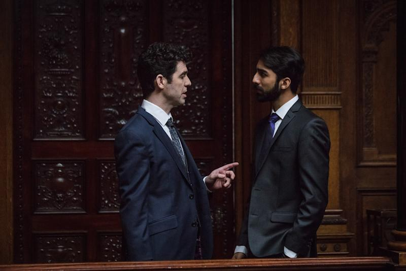 Home office advisors Rob Macdonald (Paul Ready) and Tahir Mahmood (Shubham Saraf) square off (Picture: BBC)