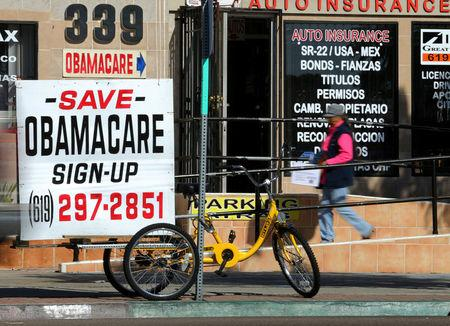 An insurance store advertises Obamacare in San Ysidro, California