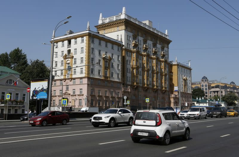FILE PHOTO: Vehicles drive past the embassy of the U.S. in Moscow