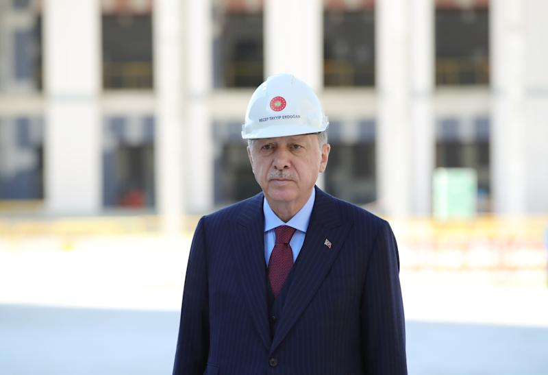 ANKARA, TURKEY - JUNE 5: President of Turkey Recep Tayyip Erdogan poses for a photo as he inspects the construction of Presidency of the Judicial Council service building in Ankara, Turkey on June 5, 2020 (Photo by Murat Kula/Anadolu Agency via Getty Images)