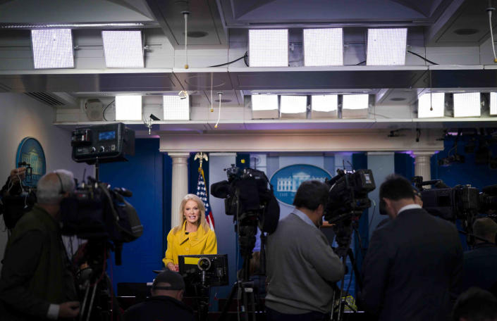 Kellyanne Conway, a senior adviser to President Donald Trump, speaks during an interview tie Fox at the White House in Washington, Dec. 2, 2019. (Doug Mills/The New York Times)
