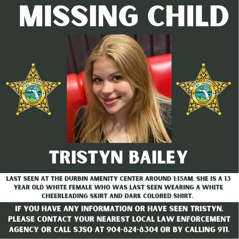 Tristyn Bailey, 13, was found stabbed to death Sunday evening, hours after she was reported missing by family. (Photo: St. Johns County Sheriff's Office)