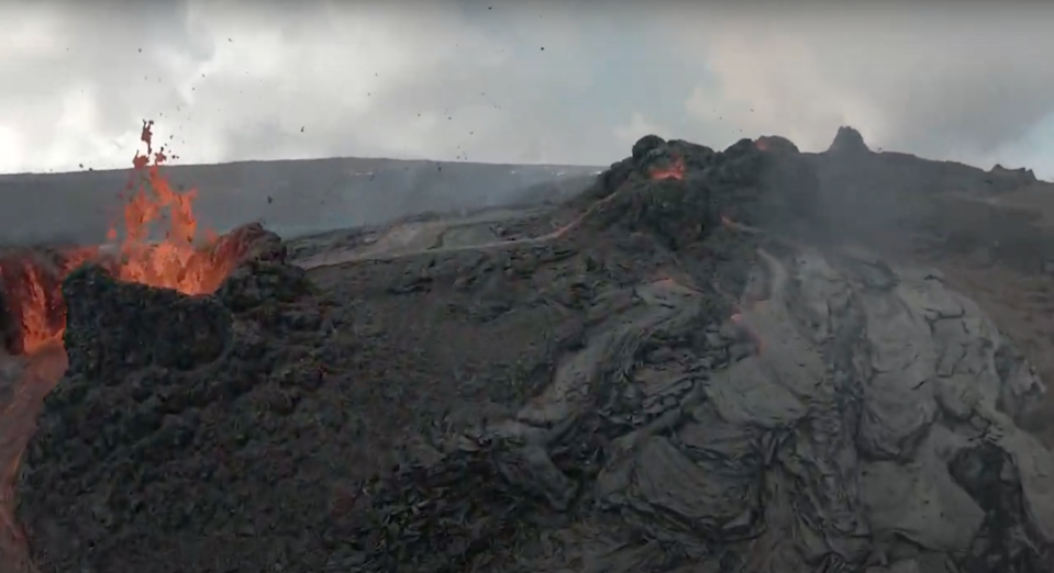 A German filmmaker recording footage of the Fagradalsfjall volcano in Iceland had his drone nailed by a piece of lava, and it's a thrilling bit of aerial adventure.