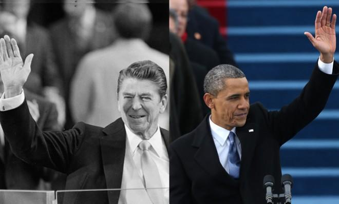 Ronald Reagan at his first inauguration on Jan. 20, 1981, and President Obama at his second on Jan. 21, 2013.