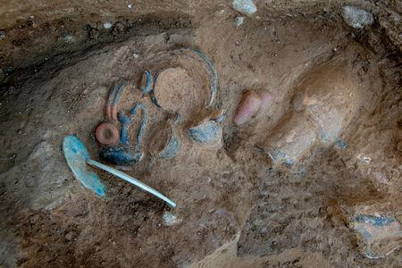 Objects in an Etruscan tomb in Aleria, in the east of the French Mediterranean island of Corsica, are seen in this picture provided by INRAP (Institut National de Recherches Archeologique Preventives) on March 27, 2019.  Denis Gliksman/Inrap/HANDOUT via Reuters