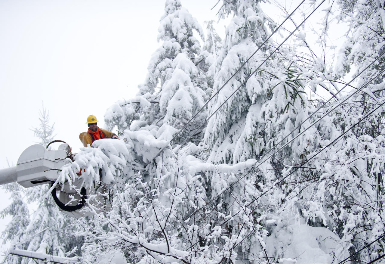 Rob Kohler, an electrical line worker from Kokomo, Indiana, clears snow-laden power lines on October 31, 2012 in Terra Alta, West Virginia.  Hurricane Sandy mixed with colder temperatures in higher elevations and dumped as much as three feet of snow in some places. (Photo by Jeff Swensen/Getty Images)