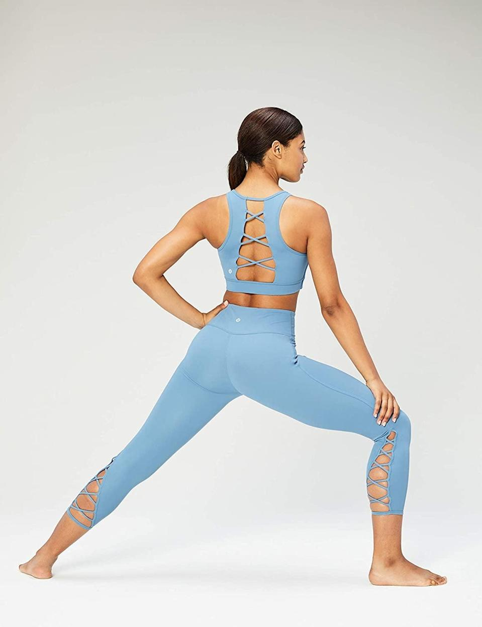 <p>The lace-up design on these <span>Core 10 High Waist Yoga Lattice Crop Leggings</span> ($29-$39) is cute and comfortable.</p>