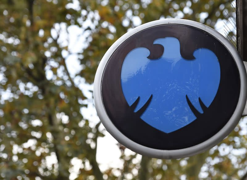 The Barclays logo is seen outside a branch of the bank in central London