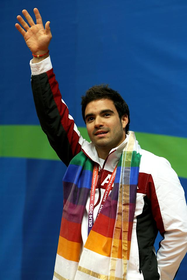 DELHI, INDIA - OCTOBER 11: Alexandre Despatie of Canada poses with the gold medal won in the Men's 3m Springboard Final at Dr. S.P. Mukherjee Aquatics Complex during day eight of the Delhi 2010 Commonwealth Games on October 11, 2010 in Delhi, India. (Photo by Phil Walter/Getty Images)