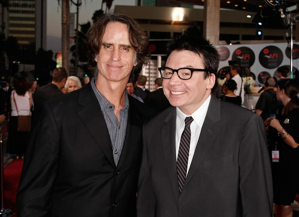 Jay Roach and Mike Myers arrive at AFI's Night At The Movies on October 1, 2008. (Photo by Kevin Winter/Getty Images for AFI)