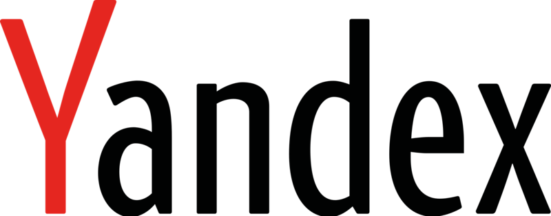 Yandex text logo with red Y and other black letters.