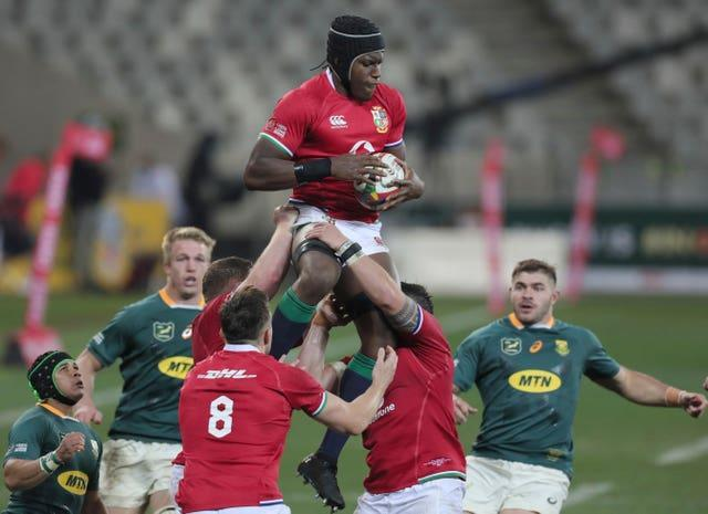 Maro Itoje climbs to take the ball during the British and Irish Lions' first Test victory over South Africa