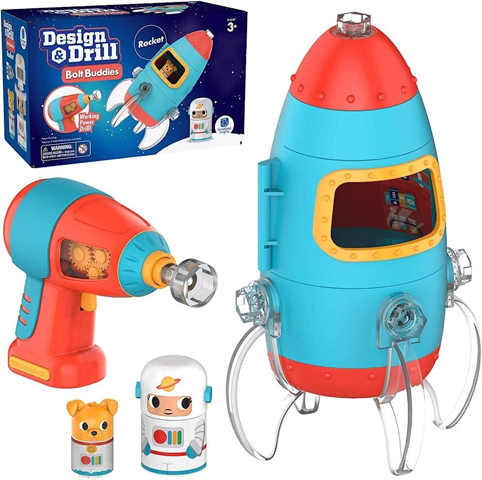 """Becausethere's no better way to get kids into STEM than by building a spaceship for an astronaut and his puppy pal and using the eco-friendly packaging as a play set.<br /><br /><strong>Promising review:</strong>""""My 3-year-old son had an old toy drill that recently stopped working and he asked me for a new one. This little set caught my eye, so I bought it and he loves it!<strong>I love that they put a little window on the side of the drill to show the gears inside spinning. Nice touch to show curious minds how these things work internally.</strong>Fits little hands perfectly and he's been assembling and disassembling this rocket at least a couple of times a day since we got it! The little astronaut characters are cute and can lock into spots inside the rocket (like Lego pieces). Another nice touch is that the box that the set comes in doubles as a space backdrop to play with or display on a bookshelf or table."""" --<a href=""""https://www.amazon.com/dp/B082VYB5QZ?tag=huffpost-bfsyndication-20&ascsubtag=5709944%2C19%2C32%2Cd%2C0%2C0%2C0%2C962%3A1%3B901%3A2%3B900%3A2%3B974%3A3%3B975%3A2%3B982%3A2%2C13752230%2C0"""" target=""""_blank"""" rel=""""noopener noreferrer"""">CK</a><br /><br /><strong>Get it from Amazon for <a href=""""https://www.amazon.com/dp/B082VYB5QZ?tag=huffpost-bfsyndication-20&ascsubtag=5709944%2C19%2C32%2Cd%2C0%2C0%2C0%2C962%3A1%3B901%3A2%3B900%3A2%3B974%3A3%3B975%3A2%3B982%3A2%2C13752230%2C0"""" target=""""_blank"""" rel=""""noopener noreferrer"""">$21.24</a>.</strong><a href=""""https://img.buzzfeed.com/buzzfeed-static/static/2020-06/12/17/asset/43f99b763c7d/sub-buzz-400-1591983269-33.jpg"""" data-skimlinks-tracking=""""5709944""""></a>"""