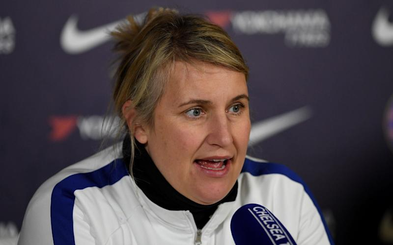 Emma Hayes, Manager of Chelsea speaks to media during a Chelsea FC Women's Press Conference at Chelsea Training Ground on February 26, 2020 in Cobham, England - Getty Images