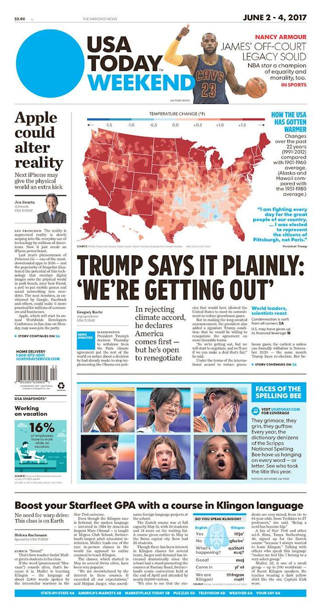 "<p>""USA Today,"" published in McLean, Va. (Newseum) </p>"