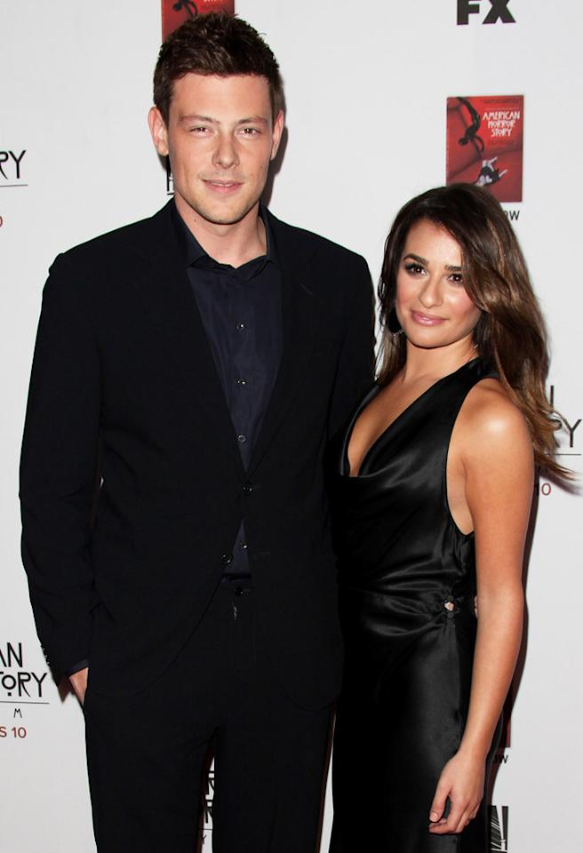 "HOLLYWOOD, CA - OCTOBER 13: Cory Monteith (L) and Lea Michele attend the ""American Horror Story: Asylum"" Los Angeles premiere held at Paramount Studios on October 13, 2012 in Hollywood, California. (Photo by Tommaso Boddi/WireImage)"