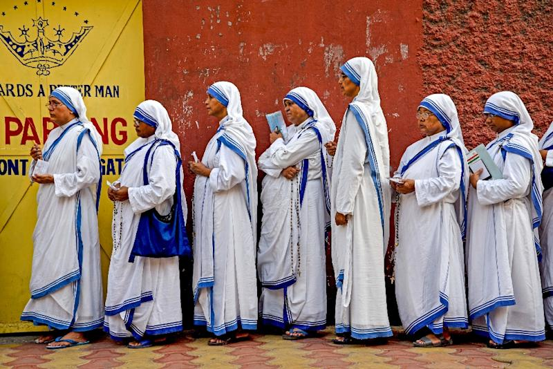 Nuns from Mother Teresa's order were among those waiting to vote in Kolkata (AFP Photo/Amit Datta)
