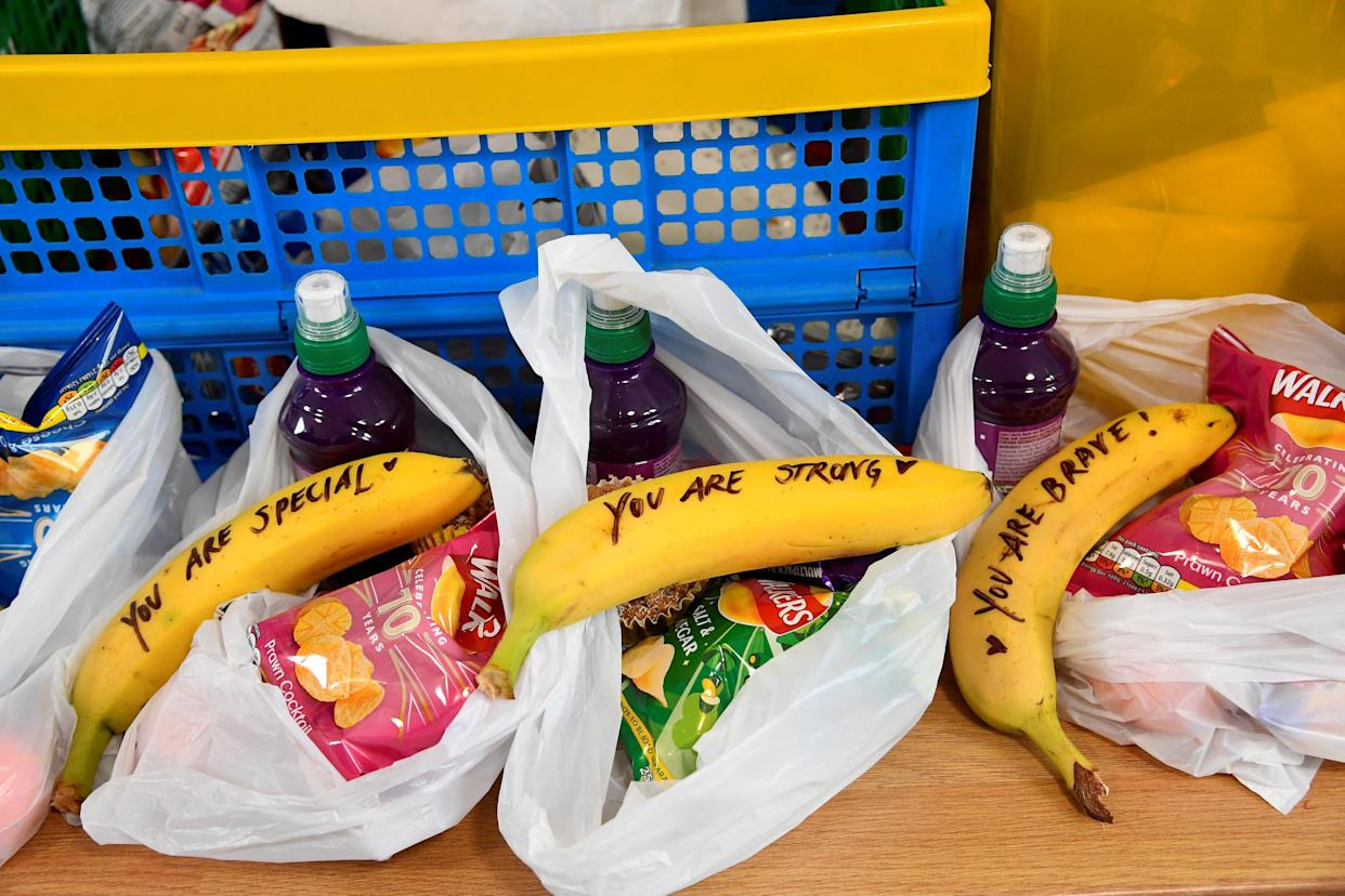 Meghan wrote positive messages on bananas [Photo: Getty]